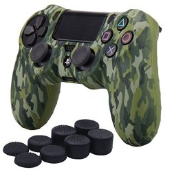 YoRHa Water Transfer Printing Camouflage Silicone Cover Skin Case For Sony PS4 SLIM PRO Controller X 1 Green With Pro Thumb Grips X 8