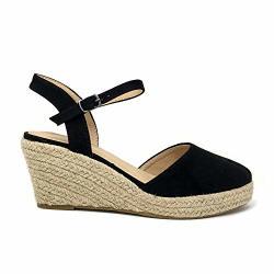 Top Moda WISHING-5 Women's Closed Toe Buckle Strap Espedrilles Sandals Black 10