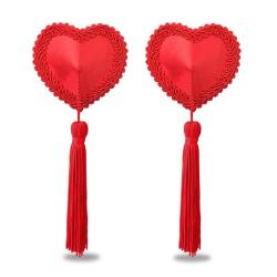 Lovetoy Reusable Red Heart Tassel Nipple Pasties