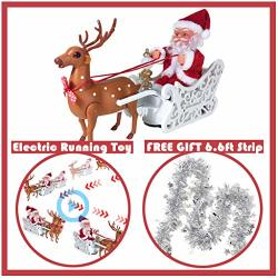 Electric Christmas Santa Claus On Sleigh With Running Reindeer Music Light - Xmas Plush Doll Figurine - Animated Ornament Toy Gift For Kid