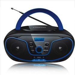 Lonpoo Protable Cd Boombox Fm Radio usb bluetooth aux Input And Earphone Jack Output With Stereo Sound Speaker Audio Player