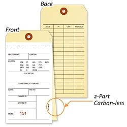"MyAssetTag 8 6"" X 3-1 8"" 2-PART Ncr Ncr 2-PART Tag With Numbers 500 Tags Pack 3.125"" X 6.25"
