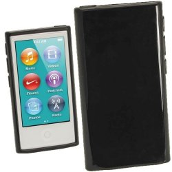 Igadgitz Black Glossy Durable Crystal Gel Skin Tpu Case Cover For Apple Ipod Nano 7TH Generation 7G 16GB + Screen Protector