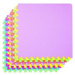 POCO DIVO 36-SQFT Giant Play Mat 9-TILE Excise Mat Easy Setup Solid Eva Foam Mat Multi-color Interlocking Floor With 18-BORDER