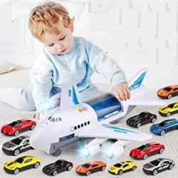 USA Aored Inertial Sound And Light Music Aircraft Children's Early Education Puzzle Helicopter Track Passenger Aircraft Storage Car Toythe For Kids 12 Ca