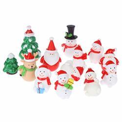 PANGHUHU88 13PCS Christmas Snowman Santa Claus Trees Gift Figurines Fairy Garden Miniatures Craft