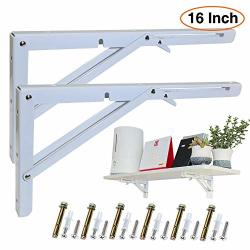 Kootans 16 Inch Folding Shelf Brackets Heavy Duty Workbench Supports 90 Degree Wall Mounted Metal Collapsible Shelf Bracket For Bench Table Max Load 220