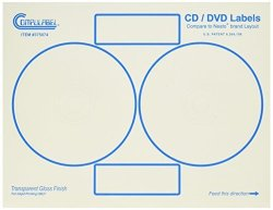 Compulabel Clear Gloss Cd dvd Labels For Inkjet Printers Comparable To Neato 4.65-INCH Permanent Adhesive 2 Per Sheet 100 Sheets Per Carton