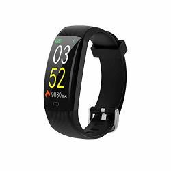 Hellopet F64C Smart Bracelet Color Screen IP68 Waterproof Bracelet Heart Rate Monitor Pedometer Activity Tracker Wristband For Android Ios Phone Smartwatch Black