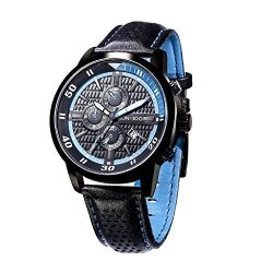 KOSSFER Pro Diver Analog Display Swiss Quartz Black Watch Men's Quartz Watch With Leather Band Unique Business Dress Analog Watches Large Casual Luminous Hands