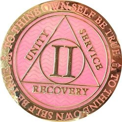 Recoverychip 2 Year Aa Medallion Reflex Pink Gold Plated Alcoholics Anonymous Chip