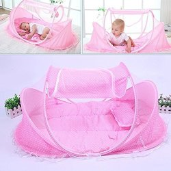 Hankyky Baby Easy to-Go Bassinet for Baby Foldable Baby Backpack Bed with Mosquito Canopy for Travel for Sleep