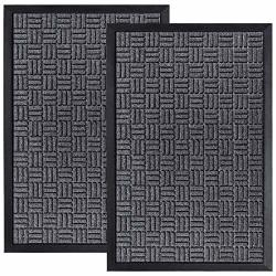 Homwe Front Door Mats 2 PC Set 29.5 X 17 All Weather Entry And Back Yard Door Mat Indoor And Outdoor Safe Non-slip Rubber
