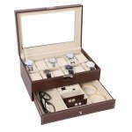 BASTUO 12 Watch Box Watch Display Organizer With Pu Leather Jewelry Display Case With Key&lock Brown With Glass Top