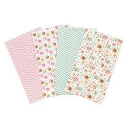 Trend Lab Elephants And Owls Flannel Burp Cloth Set 4 Piece