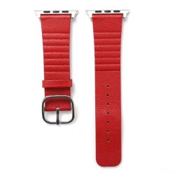Leather Buckle Band For Apple Watch - Red 42MM