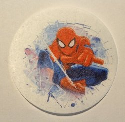 "Mak Creations Cake Supply Spider-man Gotcha Licensed Edible Wafer Cupcake cookie Toppers Pre Cut 2 1 2"" Round Buy Two Get Thir"