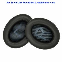 Accessory House Ear Pads Compatible With Bose Soundlink Around-ear 2 Headphones SLAE2 Black . Premium Protein Leather Soft High-