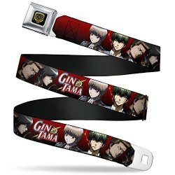 """Buckle-down Seatbelt Belt - Gin Tama 4-CHARACTER Group Poses Red-black Fade - 1.0"""" Wide - 20-36 Inches In Length"""