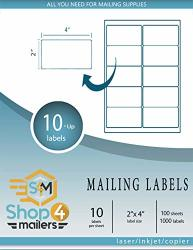 """SHOP4MAILERS 10-UP White Shipping Labels 2"""" X 4"""" 100 Sheets 1000 Labels"""