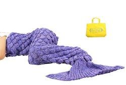 Sun Cling Mermaid Tail Blanket Crochet For Adult Teens Kids Living Room Bedroom Sofa Super Soft Scales Blankets Sleeping Bags-pu