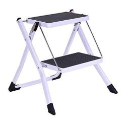 Delxo Lightweight Aluminum 2 Step Ladder Rv Ladder Step Stool Folding Step Ladder With Anti-slip Sturdy And Wide Pedal Ladder Fo