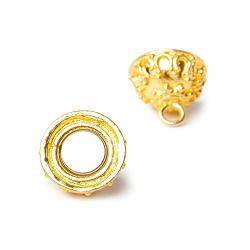 15MM 22KT Gold Plated Copper Magnetic Clasp Moroccan Round 1 Piece