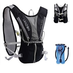 LANZON Hydration Pack With 2L Water Bladder No Cleaning Kit - 1 Black - Marathon Running Vest Leakproof Reservoir