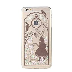 Deco Fairy Compatible With Iphone 6 6S Cartoon Anime Animated Brown Alice In Wonderland Series Transparent Translucent Flexible Silicone Cover Case