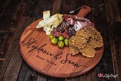 Cutting Board. Engraved Wedding Gift. Personalised Round Wooden Cheese Board Couples Gift.