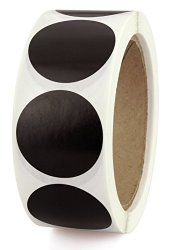 """Chromalabel.com 1-1 2"""" Black Color-code Labeling Dots Permanent Adhesive Writable Surface 500 Stickers Per Roll"""