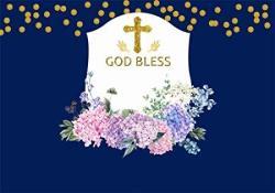 Aofoto 8X6FT God Bless Cross Backdrop Baby Shower Photobooth Newborn Christening Infant Baptism Blossom Floral Flowers Blue Background For Parties Eve