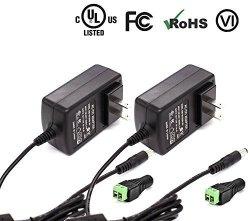 ICreatin 12V 3A Wall Ac Dc Power Supply Adapter Lighting Transformer For Cctv Cameras Dvr Nvr LED Tape Strip Light Ul Listed Fcc 2-PACK