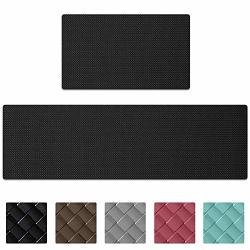 Kitchen Rugs And Mats Cushioned Anti Fatigue Comfort Runner Mat For Floor Rug Waterproof Standing Rugs Set Of 2 18X30+18X59 Black