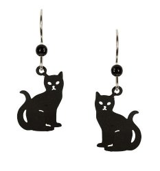"Left Hand Studios Sienna Sky ""niki"" Small Black Cat Kitten Earrings 1588"