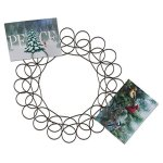 Tag Holiday Metal Spiral Wreath Greeting Card Holder 14.5-INCHES Diameter