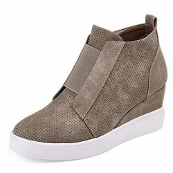 Athlefit Women's Wedge Sneakers Fashion Platform Boots Wedge Booties Ankle Heels Size 41 Brown