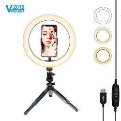"""10.2"""" Selfie Ring Light With Flexible Tripod Stand & Cell Phone Holder MINI Desktop LED Lamp Dimmable Beauty Ringlight For Live"""