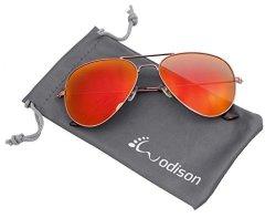 JF Store Wodison Vintage Mirrored Aviator Sunglasses For Men women Claret-red Frame Red Lens