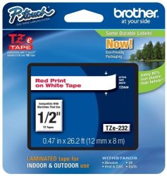 "Brother Printer Brother P-touch 1 2"" 0.47"" Red On White Standard Laminated Tape - 26.2 Ft. 8M"