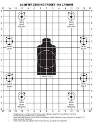 PlusTactical M4 Carbine 25 Meter Zeroing Target On Ez Peel Notepad White 25 Pack