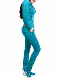 NE People Womens Casual Basic Velour Zip Up Hoodie Sweatsuit Tracksuit Set S-3XL Turquoise