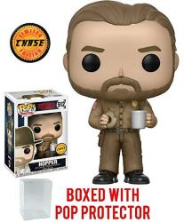 USAD Stranger Things Hopper With Donut Pop Vinyl Figure Chase Variant And Bundled With Pop Box Protector Case