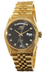 "Orient ""president"" Classic Automatic Sapphire Gold Watch Black Dial EV0J001B"