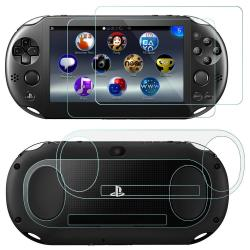 AFUNTA Screen Protectors Compatible Sony Playstation Vita 2000 With Back Covers 2 Pack 4 Pcs Tempered Glass For Front Screen And HD Clear Pet Film