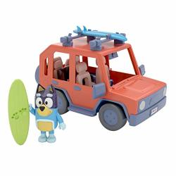 """Bluey Family Car Heeler 4WD Vehicle Including Bandit 2.5"""" Poseable Figure And Two Surf Boards"""