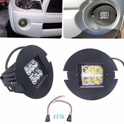 2X 24W LED Fog Light Pod With Plug Adapter Harnesses & Hidden Bumper Fog Lamp Location Mount Bracket Kit Compatible With 2007-2013 Tundra & 2005-2011 Tacoma