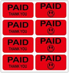 """USA Paid Stickers Fluorescent Red 520 Lables - 1"""" X 2"""" Paid Stickers""""paid Thank You"""" Labels Happy Smiley Face Stickers - Red Rectangle Retail Inventor"""