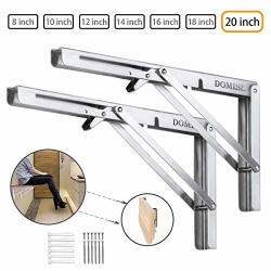 FOLDING Shelf Brackets 20 Inch Heavy Duty Stainless Steel Collapsible L Angle Wall Mounted Brackets Diy Shelves For Table Work Bench Max Load 400LB