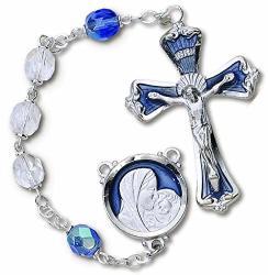 H. J. Sherman Deluxe Aurora Borealis Rosary Blue Crystal